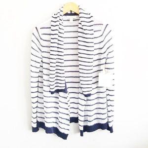 Cynthia Rowley Striped Linen Cardigan Sweater